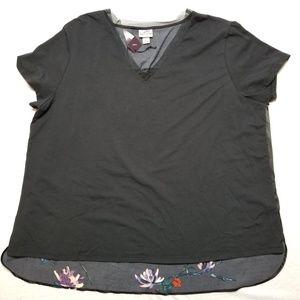 Ava viv blouse 2X NWT floral back black